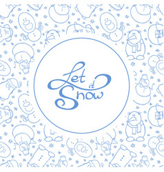 round background with cute snowmen vector image