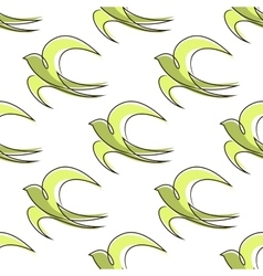 seamless pattern outline abstract swallow birds vector image