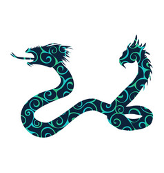 Serpent two headed pattern silhouette ancient vector