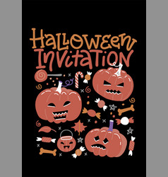set halloween party invitation with pumpkins vector image