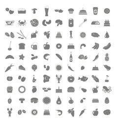 Set of monochrome icons with food and drinks vector