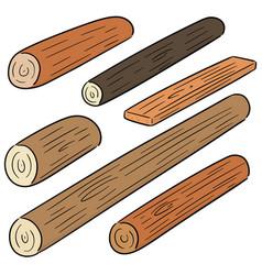 Set wooden timber vector