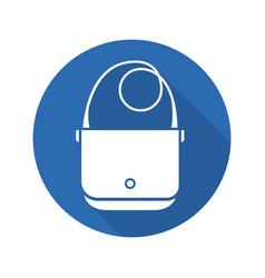 Shoulder bag flat design long shadow glyph icon vector