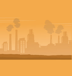 silhouette of industry with fog background vector image