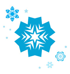 simple snowflake icon collection isolated on vector image