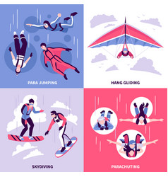 Skydiving concept icons set vector