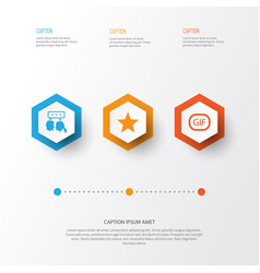 social icons set collection of star conversation vector image