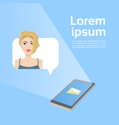 social media message smart phone with woman in vector image