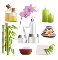 spa salon accessories set realistic vector image
