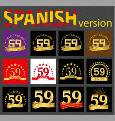 spanish set of number fifty-nine 59 years vector image