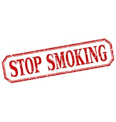 Stop smoking square red grunge vintage isolated vector