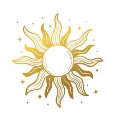 Sun golden mystical logo retro design vector