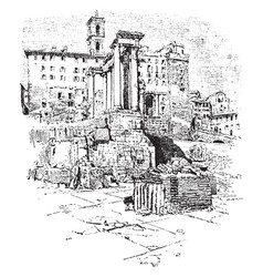 temple of saturn tabularium and tower of capitol vector image