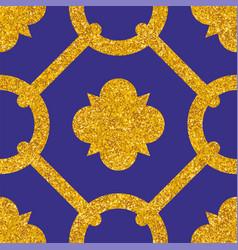 Tile decorative floor gold and dark blue tiles vector