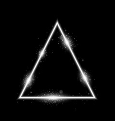 triangle with lights and sparkles white color vector image