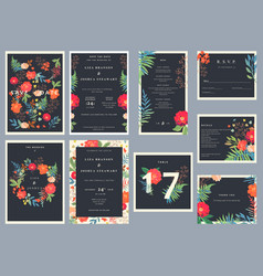 Wedding set with floral background colorful vector