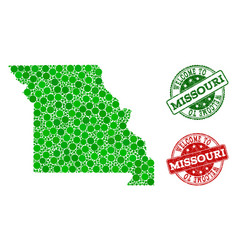 Welcome collage of map of missouri state and vector
