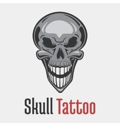 Wide smiling skeleton skull tattoo vector image