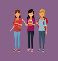 young students cartoon vector image