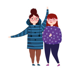Young women with glasses and warm clothes vector