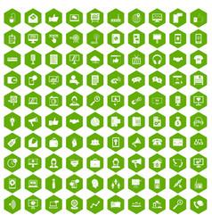 100 help desk icons hexagon green vector image vector image