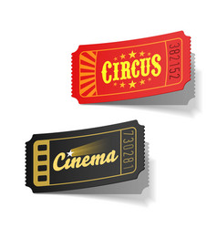 Circus and cinema tickets vector image vector image