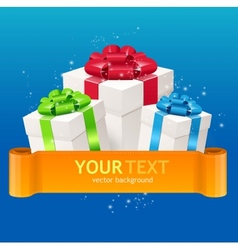 Gift boxes with bow and ribbon for text vector image vector image
