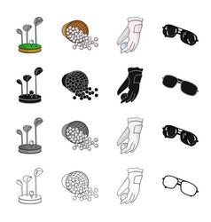 golf clubs balls in the basket golfer glove vector image