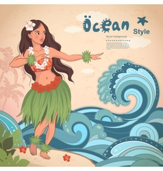 Retro style Hawaiian beautiful hula girl vector image vector image