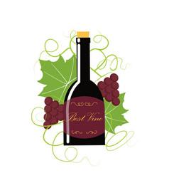 grape berry leaf behind vine bottle vector image vector image