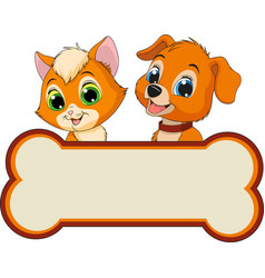 kitten and puppy friends vector image