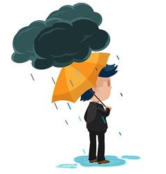 Man Stand Look Forward Rain vector image vector image