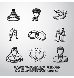 Set of handdrawn wedding icons - cake flowers vector image vector image