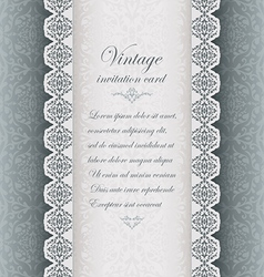 Vintage blue background with lace vector image