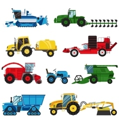 Equipment farm for agriculture machinery combine vector image
