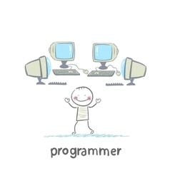 programmer worth around computers vector image vector image