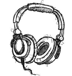 scribble series - headphones vector image vector image