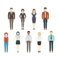 Set of young men and women wearing office clothes vector image vector image