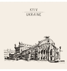 sketch drawing of Ukraine Kyiv national opera and vector image