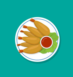 top view fried prawn on white plate vector image