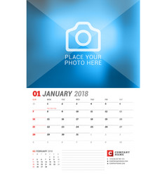 wall calendar planner for 2018 year january print vector image vector image