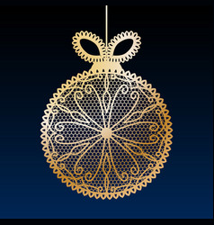 decorative golden lace christmas ball toy on dark vector image vector image
