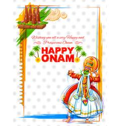 Kathakali dancer on background for happy onam vector