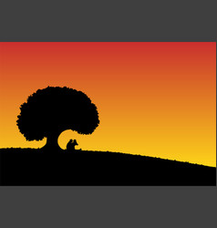 lovers under tree at sunset vector image