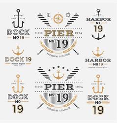 nautical label anchor no 19 set 01 vector image