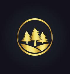 pine tree icon gold logo vector image vector image