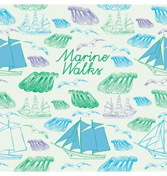 sea voyage seamless background vector image vector image