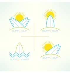 Set of surfing company labels logo made in vector image vector image