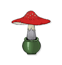 a fly-agaric poisonous forest mushrooms happy vector image