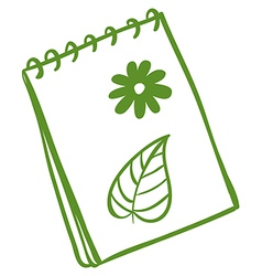 A green notepad vector image